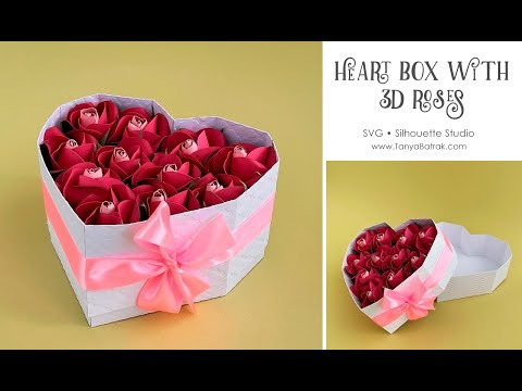 Paper Heart Box with Roses