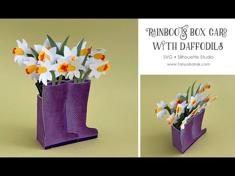 Rainboots Box Card with Paper Daffodils