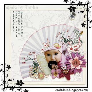 Scrapbook layout with Japanese motifs