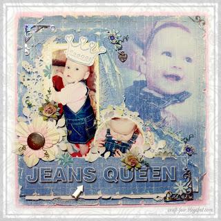 """""""Jeans Queen"""" scrapbook layout"""