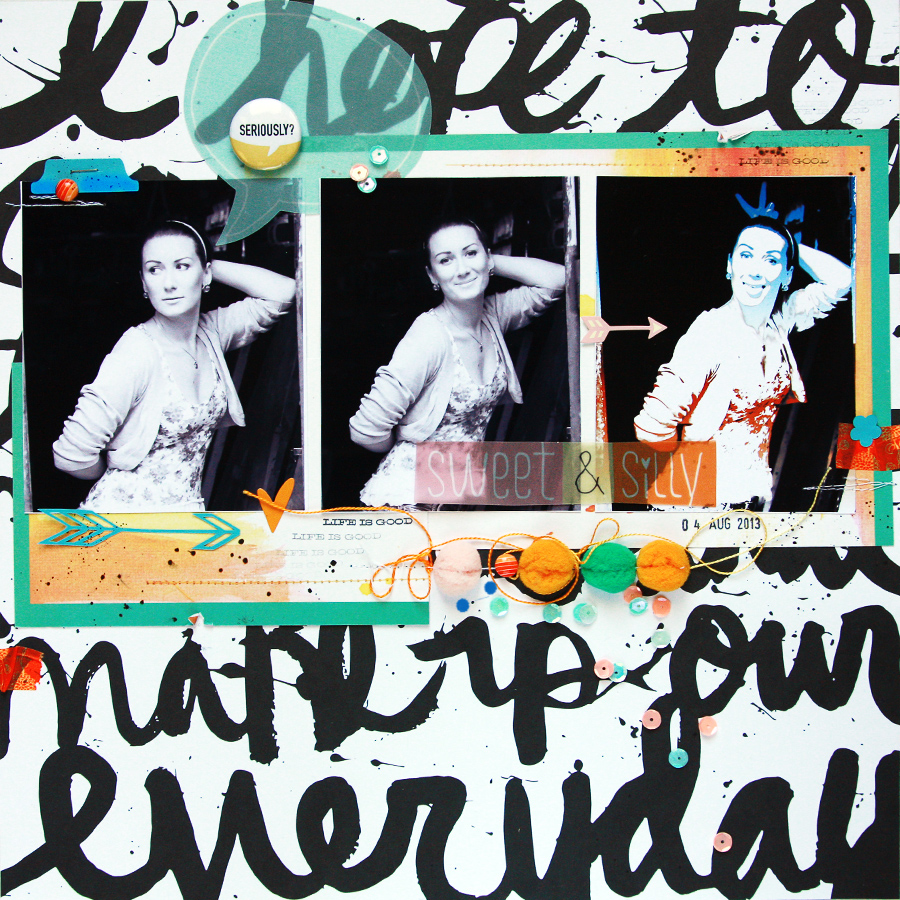 Freestyle Scrapbook Layout with Stylized Photo