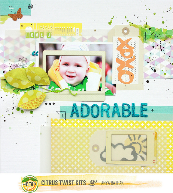 Scrapbook Layout with Tags and Vellum