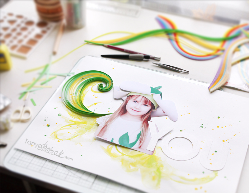 Scrapbook Layout with Quilling tutorial