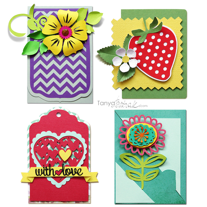 layered flower tags, strawberry card cut files