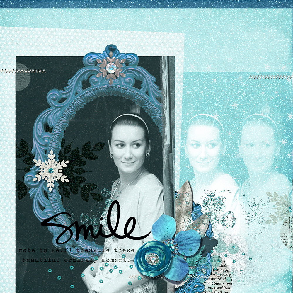Digital Scrapbook Layout in Blue Tones