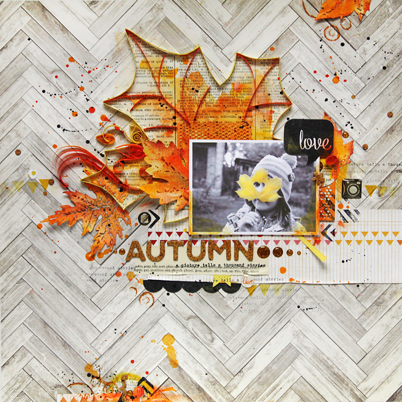 Autumn Themed Scrapbook Layout with Quilling Maple Leaf