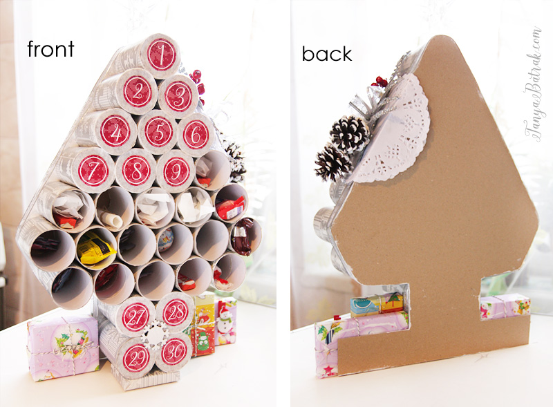 DIY Advent Calendar from toilet paper rolls