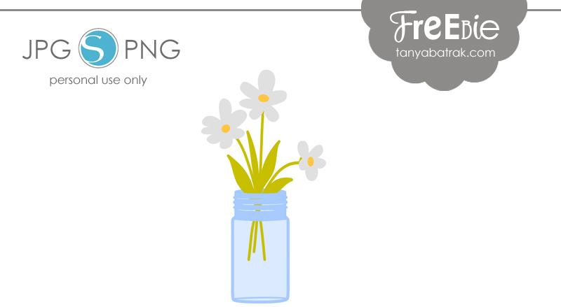 Free Mason Jar with Flowers Cut File