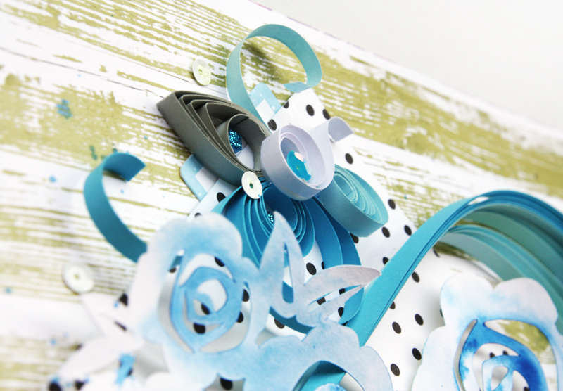 scrapbook layout with quilling