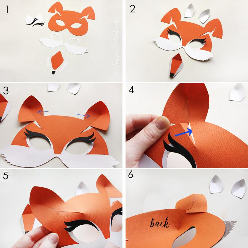 DIY paper fox mask for kids