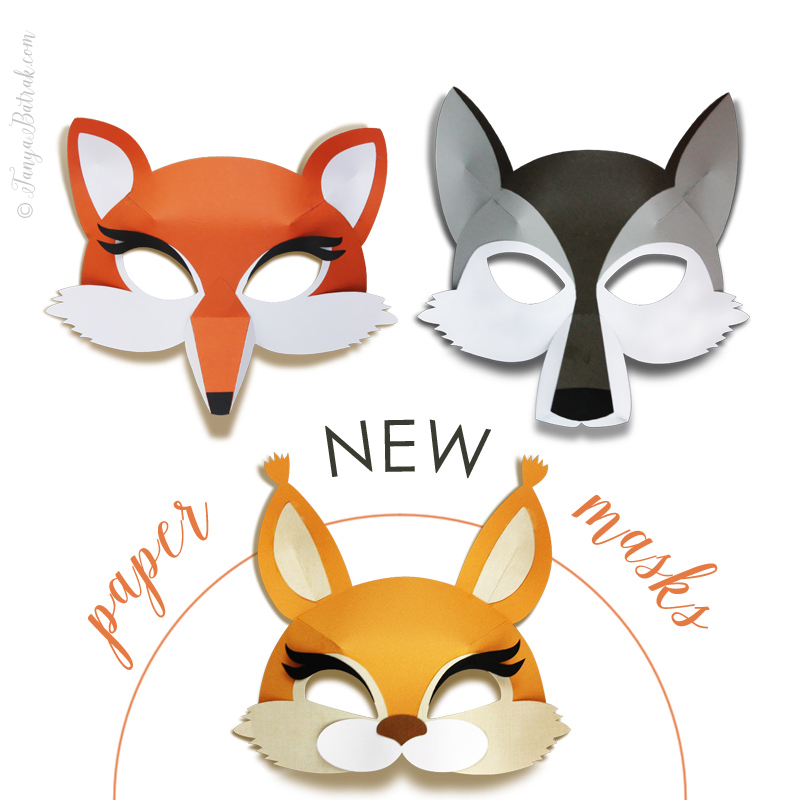 DIY 3D Paper Masks for Kids – fox, wolf and squirrel