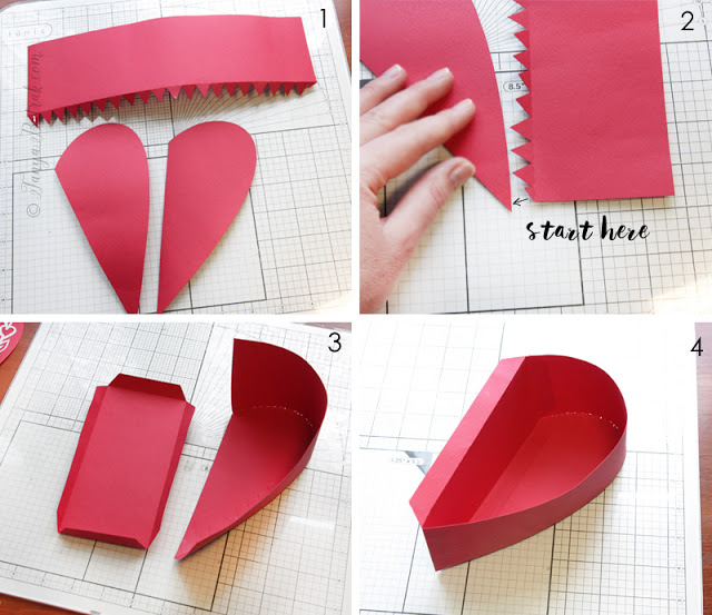 DIY paper heart shaped box