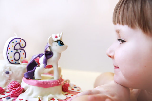 DIY cake with gum paste pony Rarity