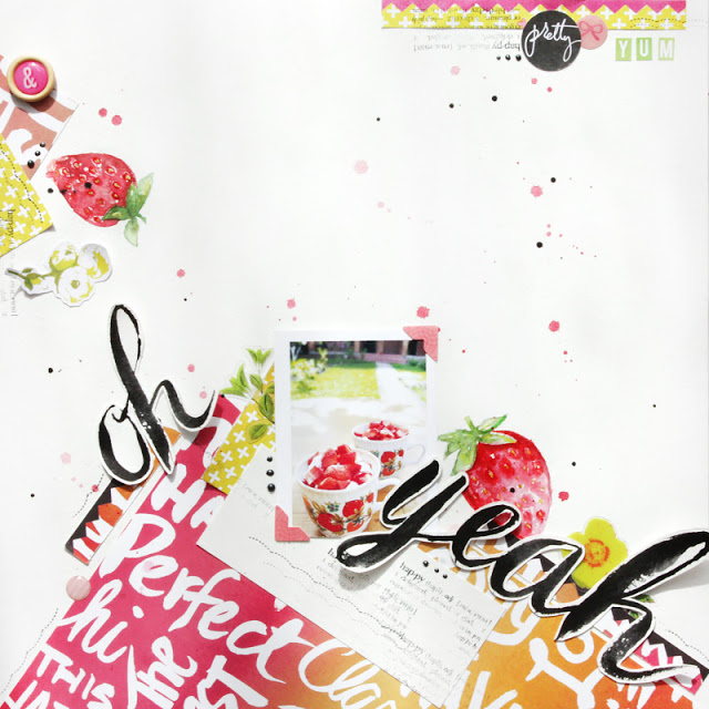 Scrapbook Layout with Watercolour Elements