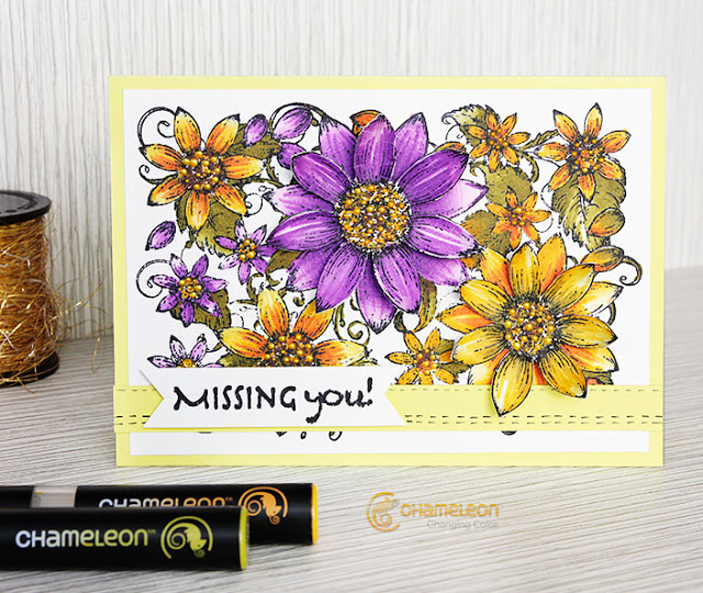 diy card with layered flowers