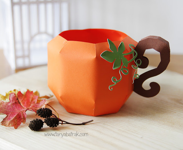 3D Paper Pumpkin Mug and Fall Cut Files