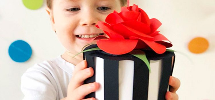 DIY paper piano box with 3D rose