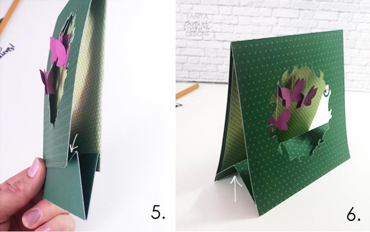 Folded card with fluttering butterflies