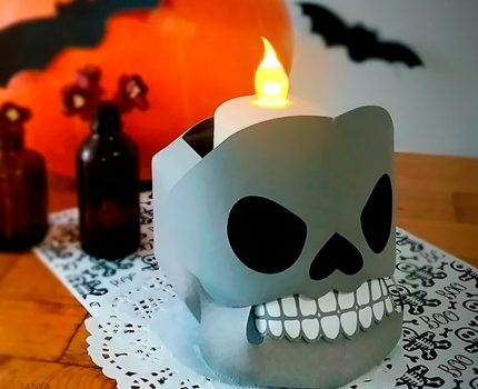 DIY 3D paper skull candy bowl for Halloween