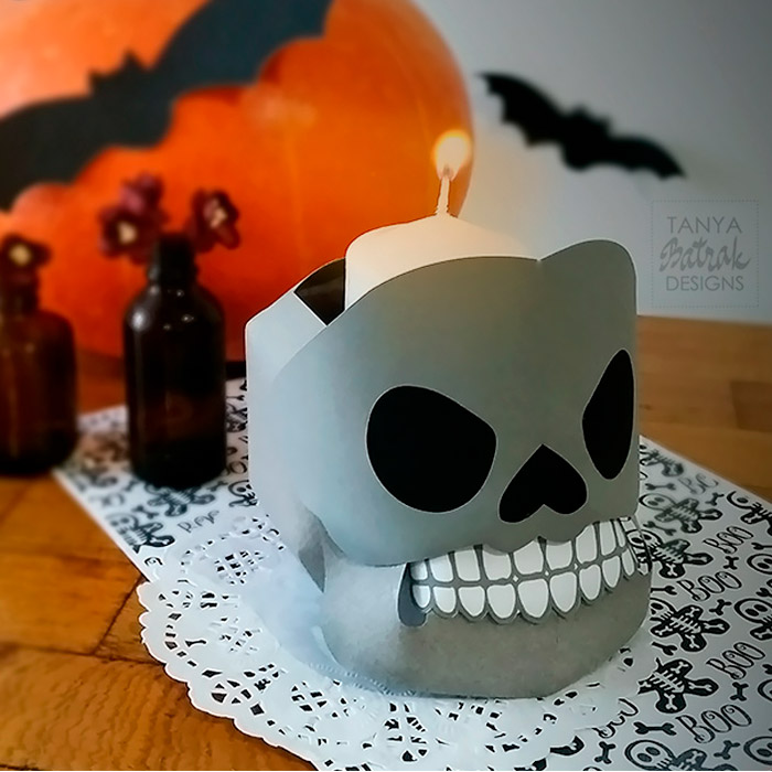 DIY D paper skull candy bowl for Halloween