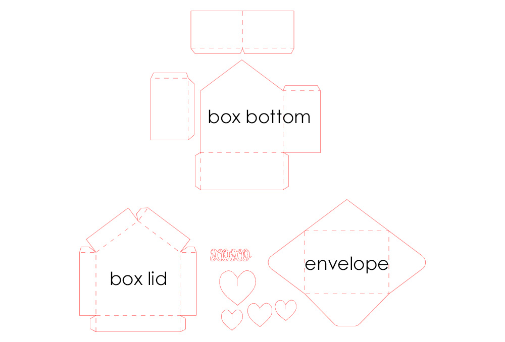 DIY envelope shaped box with D hearts