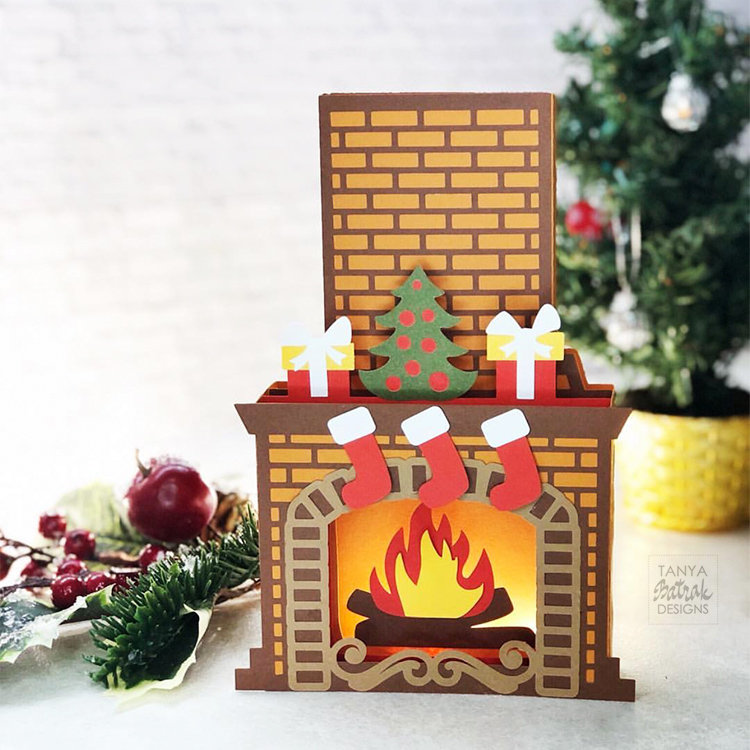 Mantelpiece Box Card cut file