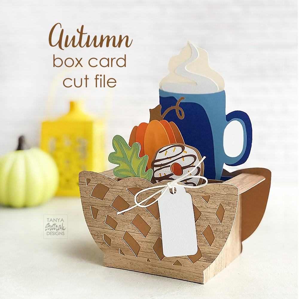 Autumn Box Card with Coffee Pumpkin and Donut SVG