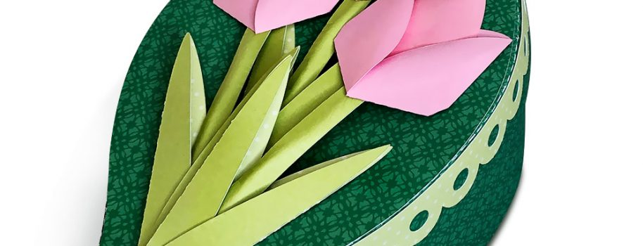 DIY Leaf Shaped Box with 3D Paper Tulips