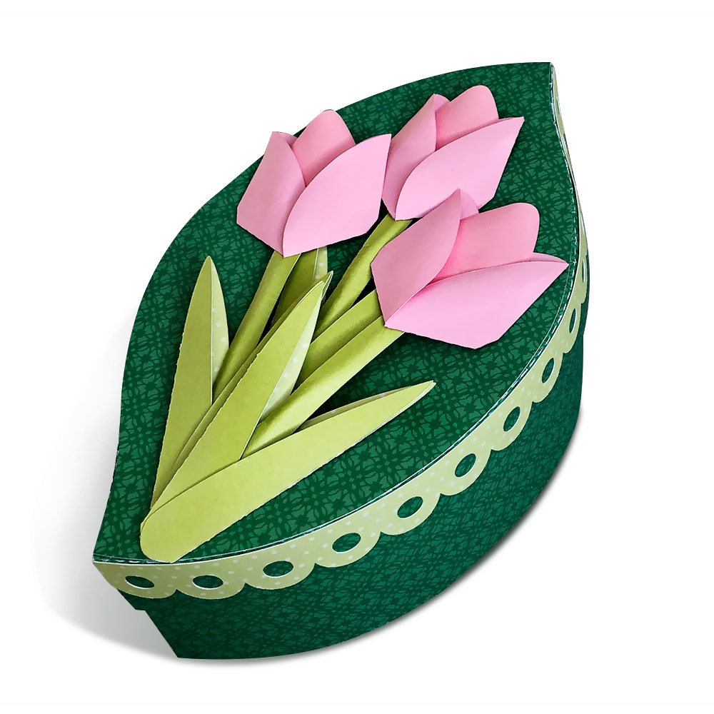 DIY Gift Box with 3D Paper Tulips