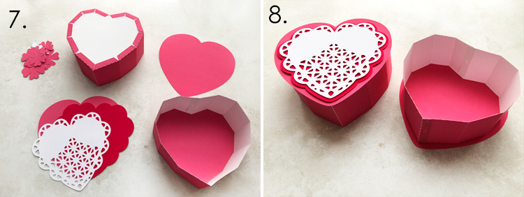 Heart Shaped Gift Box with Lace Heart and D Flowers