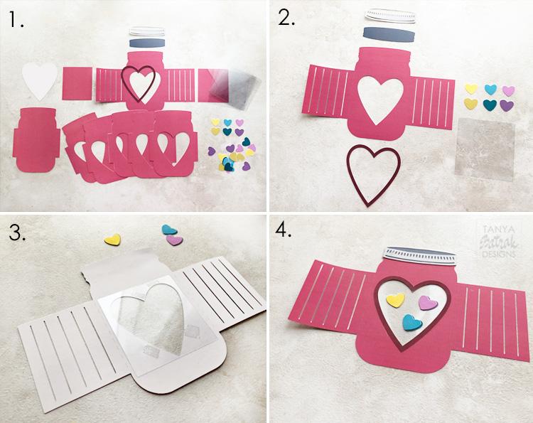 3D Mason Jar Box Card for Valentine s Day