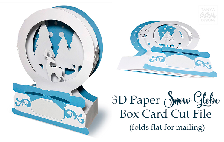 3D Paper Snow Globe Box Cards