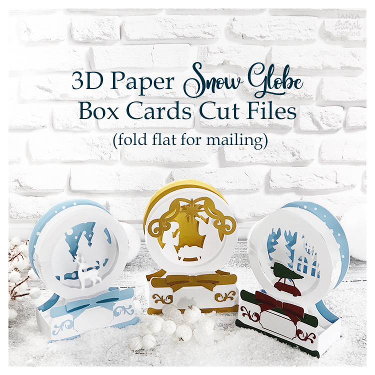 D Paper Snow Globe Box Cards