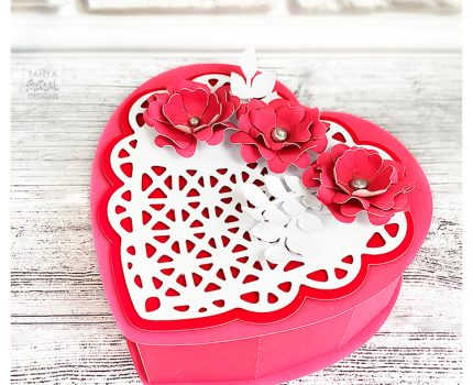 Heart Shaped Gift Box with Lace Heart and 3D Flowers