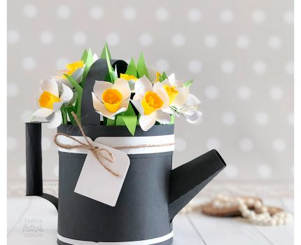 Paper Watering Can Box with 3D Daffodils