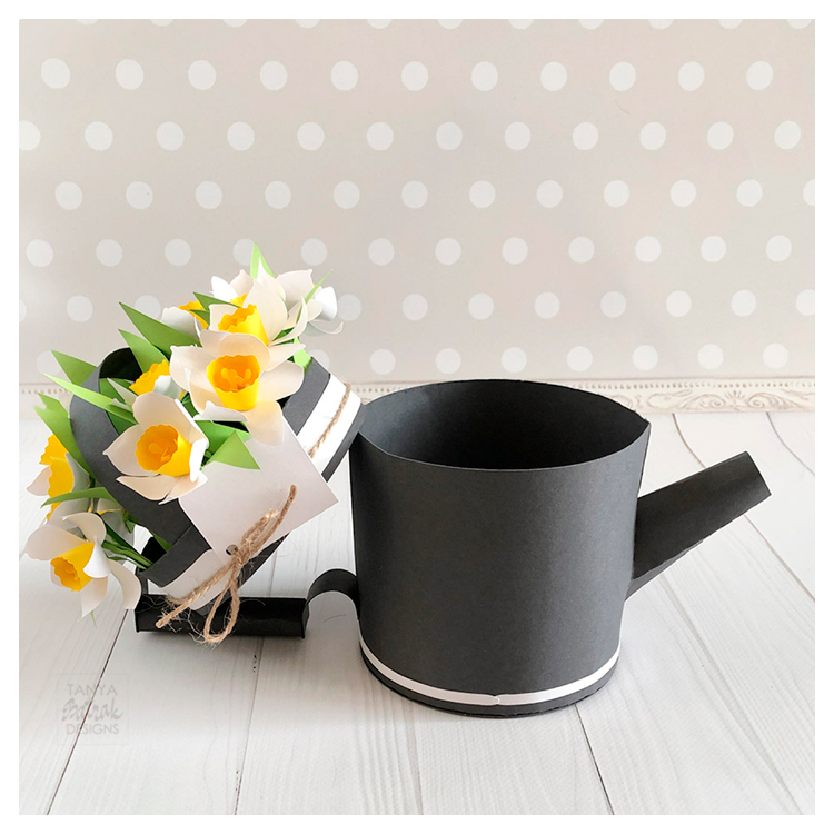 Paper Watering Can Box with D Daffodils