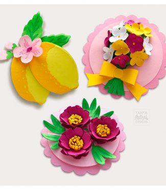 3D Flower Cards Cut Files