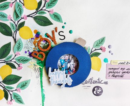 Scrapbook Layout with Paper Iris Shutter