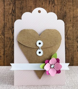 Gift Tag with a Heart Shaped String Tie Envelope
