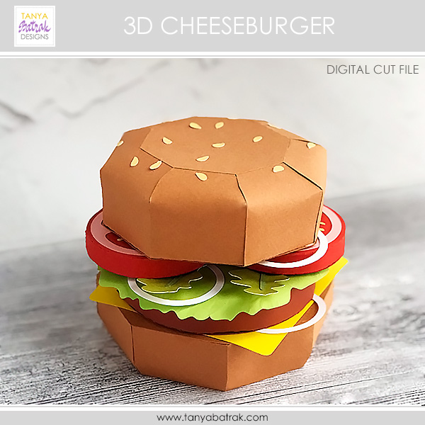 D Paper Cheeseburger Cut File