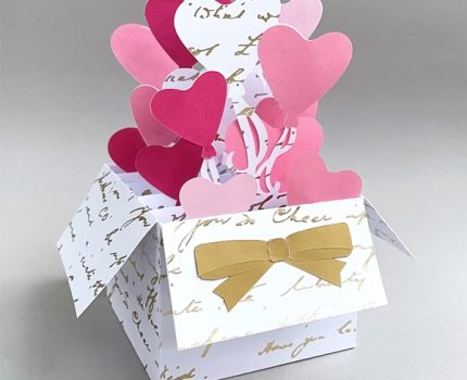 Box Card with Heart Balloons