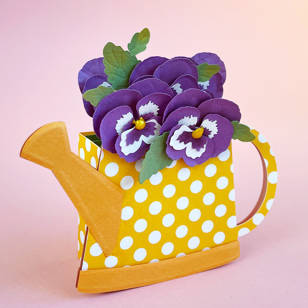 Cute Mini Pop Up Card with Pansies SVG