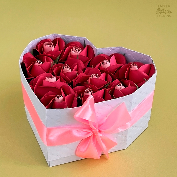 heart box d roses