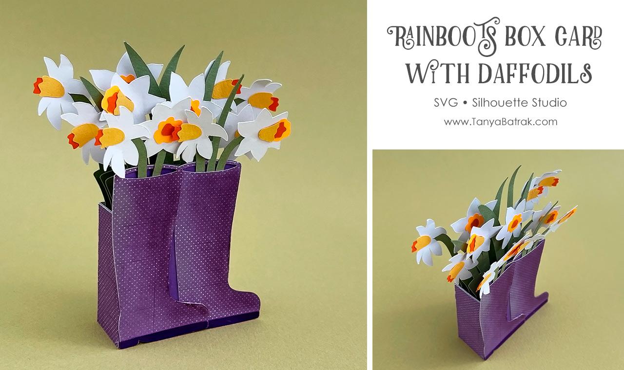 Rainboots Box Card with Daffodils